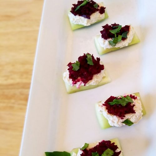 Amazing Cucumber Feta Bites with Beets and Basil