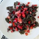 Tasty Red Kale Salad with Peppers and Avocado