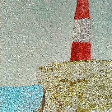 Dish Vegan _ Watercolor enhanced digitally of Lighthouse by the Sea