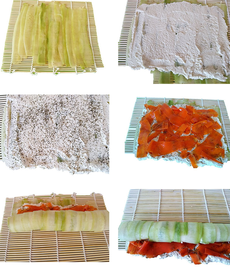 Steps to making vegan salmon rolls.
