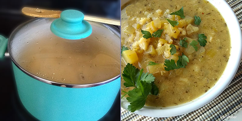 Vegan fish chowder goes from simmering pot to bowl.
